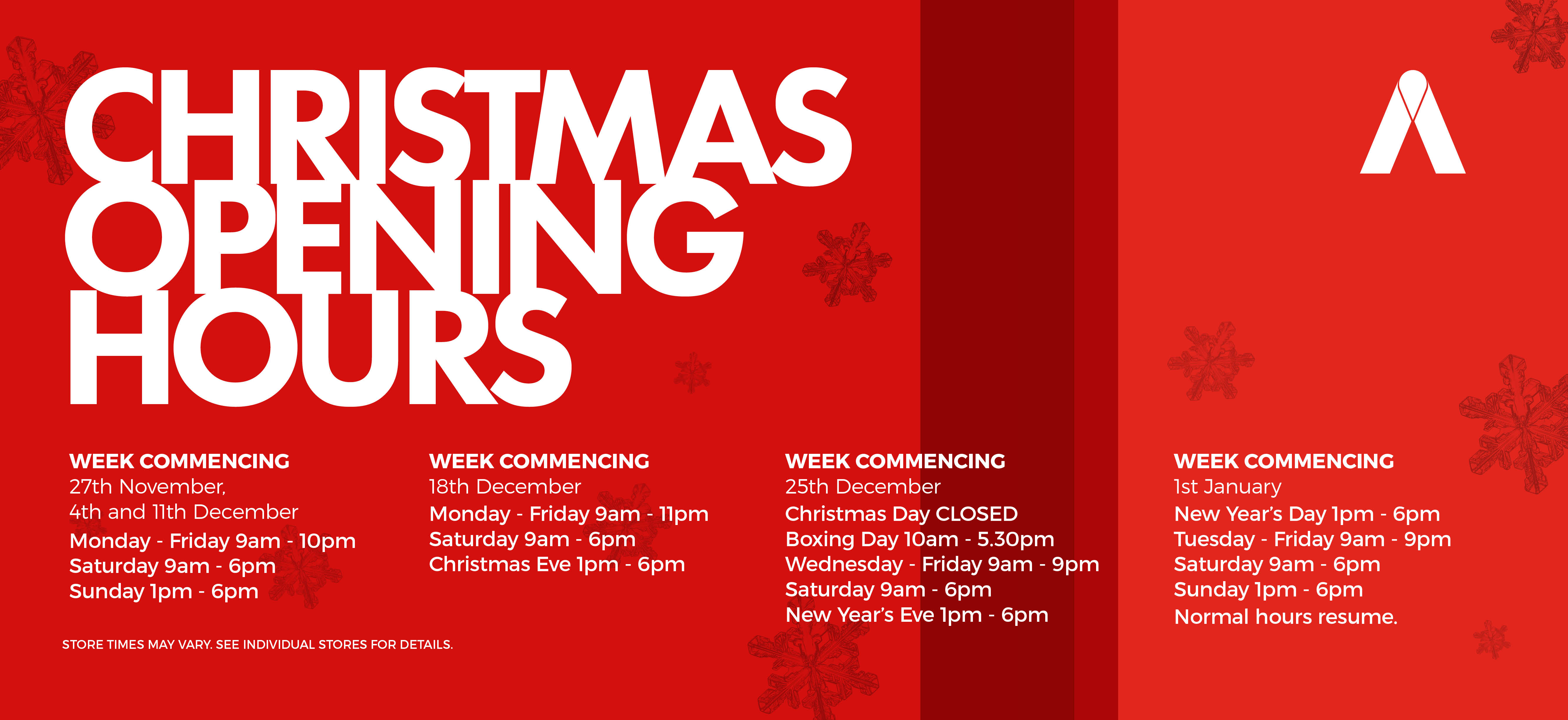 Christmas Opening Hours Web Banner